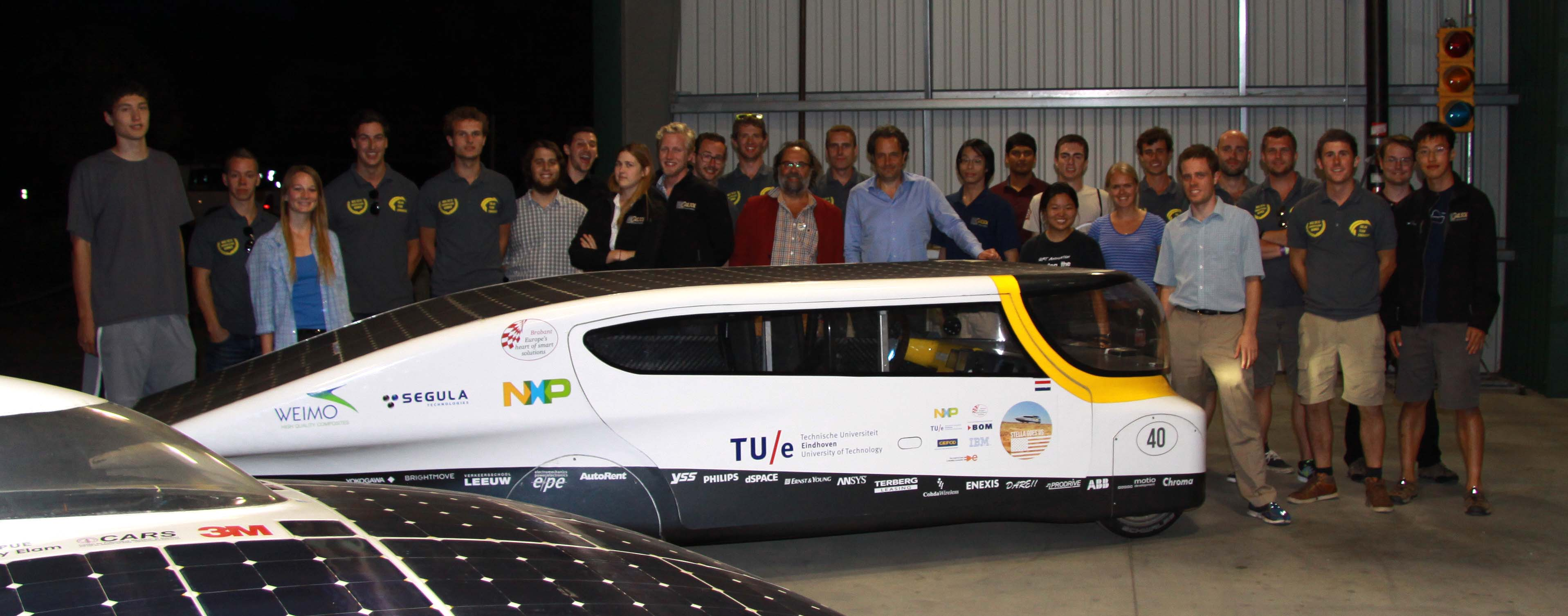 Teams Eindhoven, CalSol, and SSCP, along with Eindhoven's 2013 car, Stella