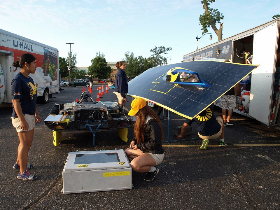 University of Michigan prepares for morning charge at a stagepoint stop on the 2014 American Solar Challenge. Susan, one of our mech team members and an Observer on the race, snapped this photo.